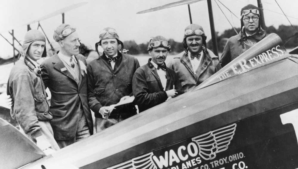 an old photo of ERAU Waco pilots