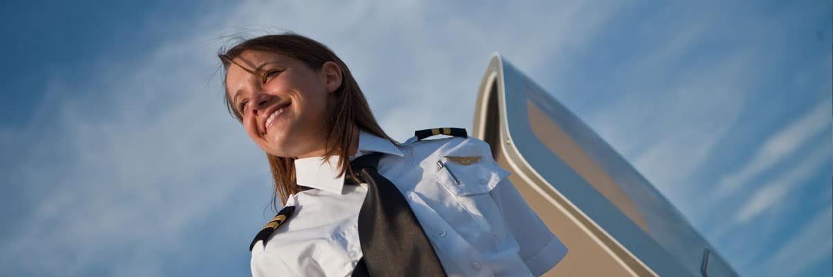 Female pilot on the Embry-Riddle campus.