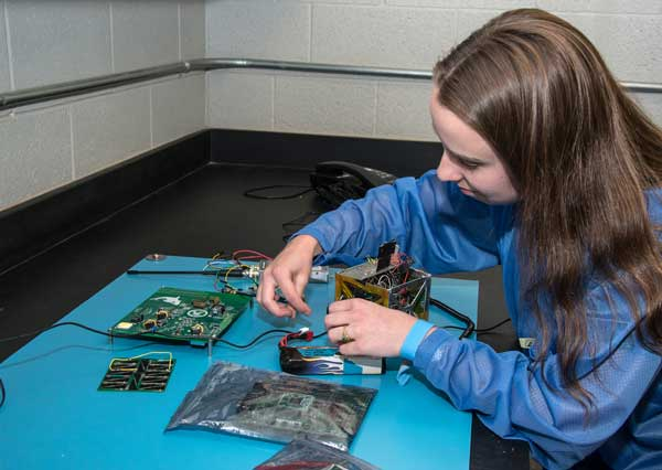 Student working in robotics lab