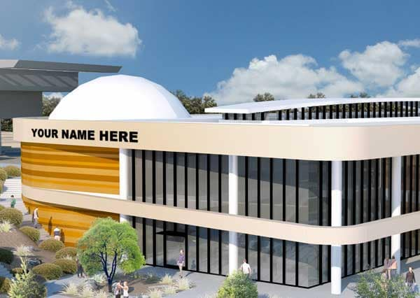 "STEM Center rendering with ""Your Name Here"" on the side of the building"