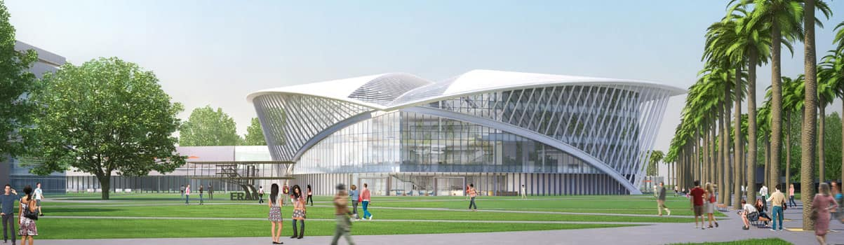 rendering of the student center