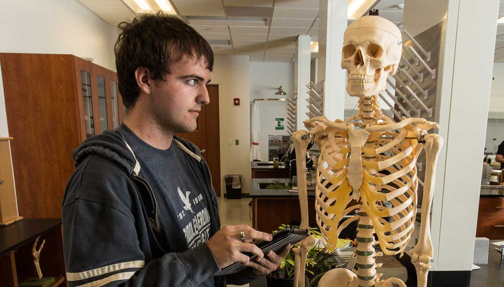Student stands next to a skeleton.